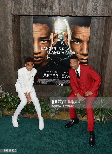 Actors Jaden Smith and Will Smith attend the After Earth premiere at Ziegfeld Theater on May 29 2013 in New York City
