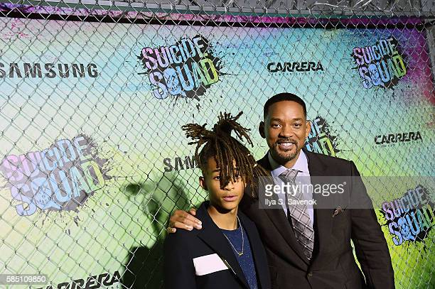Actors Jaden Smith and Will Smith celebrate the Premiere of 'Suicide Squad' with Samsung at Beacon Theatre on August 1 2016 in New York New York