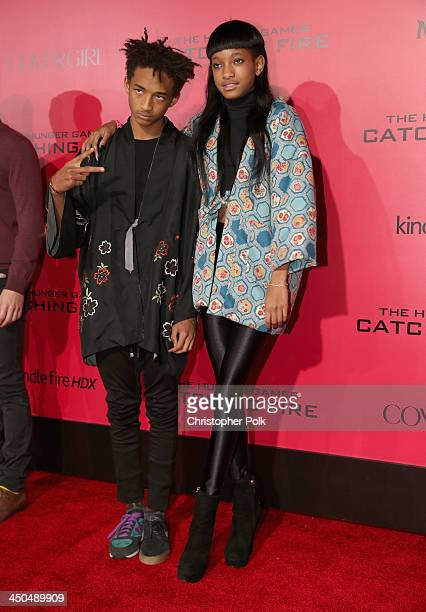 Actors Jaden Smith and Willow Smith attend premiere of Lionsgate's The Hunger Games Catching Fire Red Carpet at Nokia Theatre LA Live on November 18...