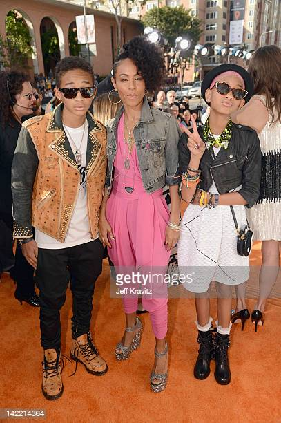 Actors Jaden Smith Jada Pinkett Smith and Willow Smith arrive at the 2012 Nickelodeon's Kids' Choice Awards at Galen Center on March 31 2012 in Los...