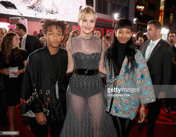Actors Jaden Smith Jennifer Lawrence and Willow Smith attend premiere of Lionsgate's The Hunger Games Catching Fire Red Carpet at Nokia Theatre LA...