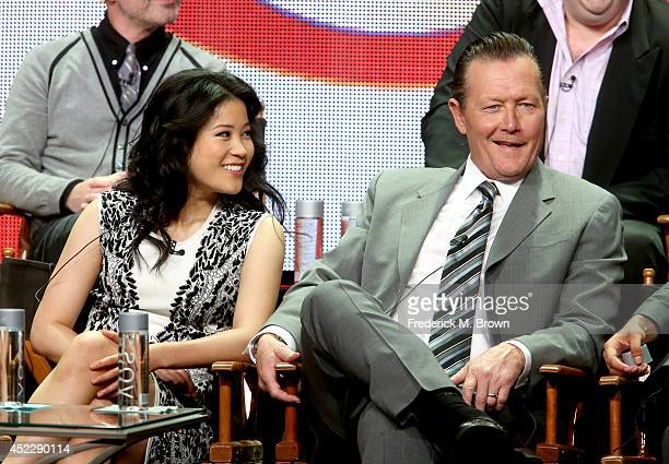 Actors Jadyn Wong and Robert Patrick speak onstage at the Scorpion panel during the CBS Network portion of the 2014 Summer Television Critics...