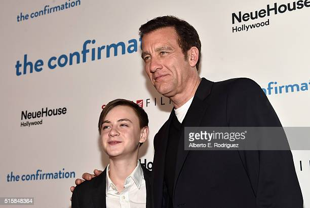 Actors Jaeden Lieberher and Clive Owen attend the premiere of Saban Films' 'The Confirmation' on March 15 2016 in Los Angeles California