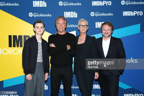 Actors Jaeden Martell Don Johnson Jamie Lee Curtis and director Rian Johnson of 'Knives Out' attends The IMDb Studio Presented By Intuit QuickBooks...