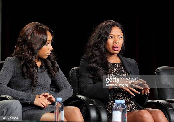 Actors Jahnee Wallace and Jill Marie Jones speak onstage during the 'White Water' panel at the the TV One Winter 2015 TCA Panel at the Langham Hotel...