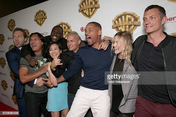 Actors Jai Courtney Adam Beach Adewale AkinnuoyeAgbaje Karen Fukuhara Jay Hernandez Will Smith Margot Robbie and Joel Kinnaman of 'Suicide Squad'...