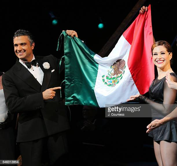 Actors Jaime Camil and Bianca Marroquin take a bow during curtain call following their first performance after joing the cast of Chicago On Broadway...