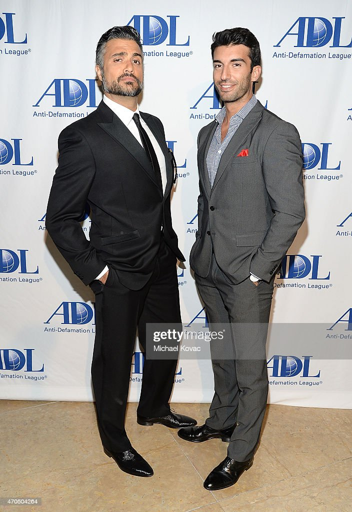 Actors Jaime Camil (L) and Justin Baldoni attend the Anti-Defamation League's 2015 Entertainment Industry Dinner at The Beverly Hilton Hotel on April 20, 2015 in Beverly Hills, California.