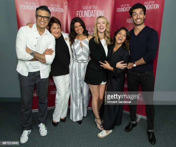 Actors Jaime Camil Ivonne Coll Andrea Navedo Yael Grobglas Gina Rodriguez and Justin Baldoni attend SAGAFTRA Foundation's Conversations with 'Jane...