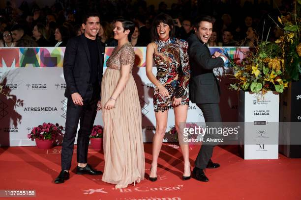 Actors Jaime Lorente Andrea Ros María Pedraza and Pol Monen attend the 'Retrospeciva' award ceremony during the 22th Malaga Film Festival on March 22...