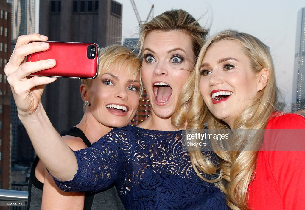 Actors Jaime Pressly, Missi Pyle and Nora Kirkpatrick pose for pictures during TV Land's 'Jennifer Falls' premiere party at Jimmy At The James Hotel on June 2, 2014 in New York City.