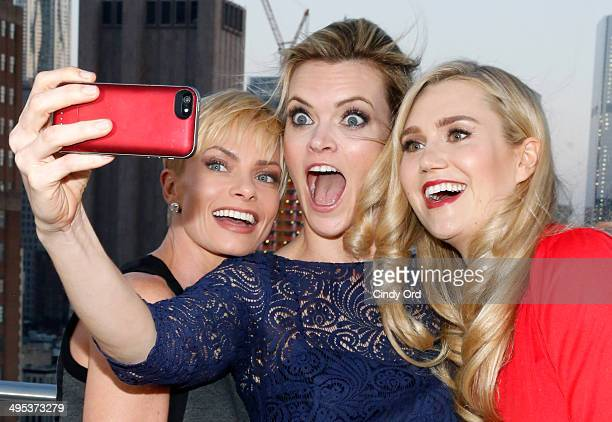 Actors Jaime Pressly Missi Pyle and Nora Kirkpatrick pose for pictures during TV Land's 'Jennifer Falls' premiere party at Jimmy At The James Hotel...