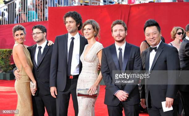 Actors Jaime-Lynn Sigler, Jerry Ferrara, Adrian Grenier, Perrey Reeves, Kevin Connolly and Rex Lee arrive at the 61st Primetime Emmy Awards held at...
