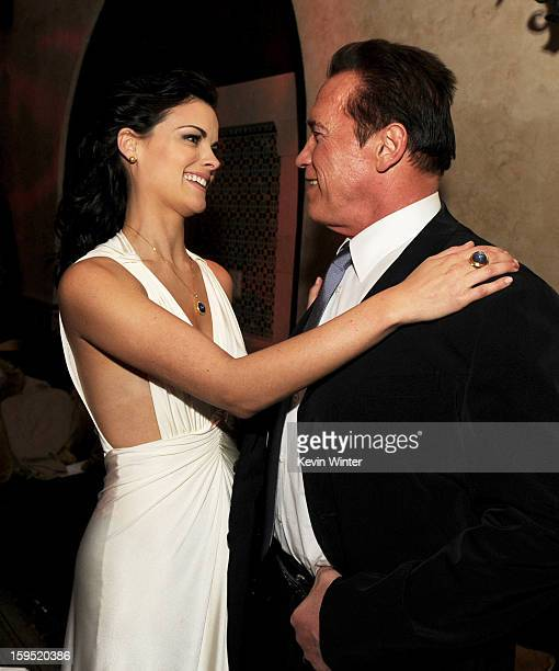 Actors Jaimie Alexander and Arnold Schwarzenegger pose at the after party for the premiere of Lionsgate Films' 'The Last Stand' at the Roosevelt...
