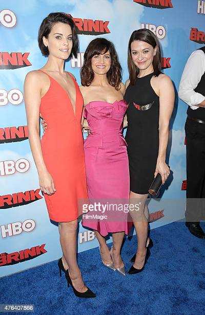 Actors Jaimie Alexander, Carla Gugino and Maribeth Monroe attend HBO's 'The Brink' Los Angeles Premiere at Paramount Theater on the Paramount Studios...
