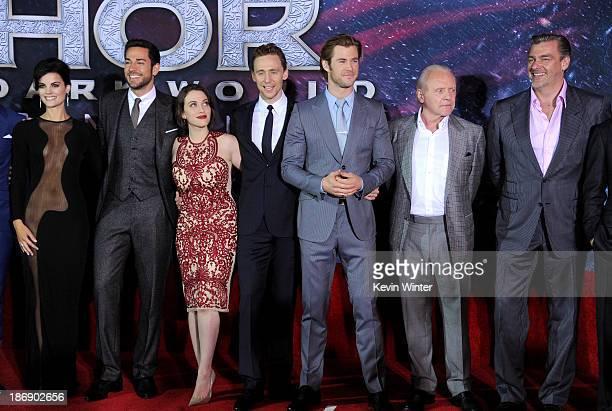 Actors Jaimie Alexander, Zachary Levi, Kat Dennings, Tom Hiddleston, Chris Hemsworth, Anthony Hopkins and Ray Stevenson arrive at the premiere of...
