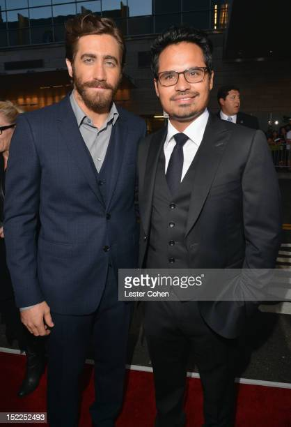 """Actors Jake Gyllenhaal and Michael Pena arrive at the """"End Of Watch"""" Los Angeles Premiere at Regal Cinemas L.A. Live on September 17, 2012 in Los..."""