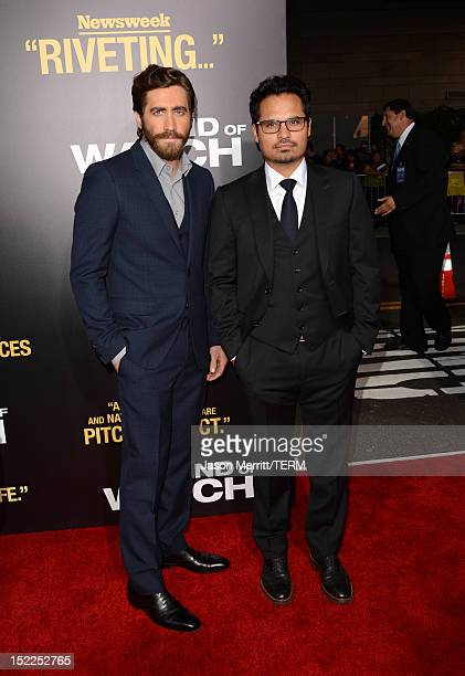"""Actors Jake Gyllenhaal and Michael Pena arrive at the premiere of Open Road Films' """"End of Watch"""" at Regal Cinemas L.A. Live on September 17, 2012 in..."""
