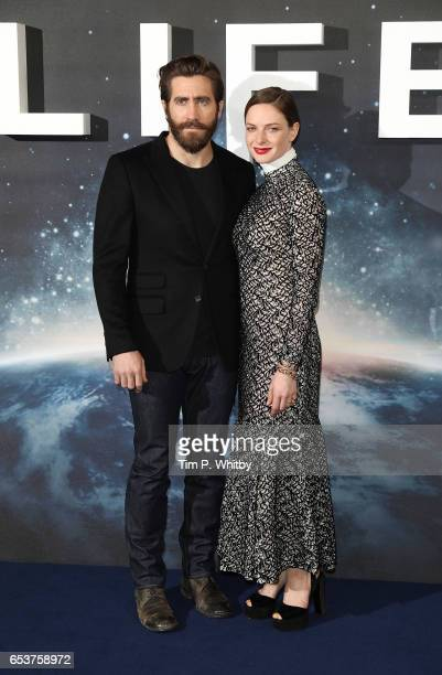 Actors Jake Gyllenhaal and Rebecca Ferguson attend a photocall for 'Life' at the Corinthia Hotel on March 16 2017 in London England 'Life' is...