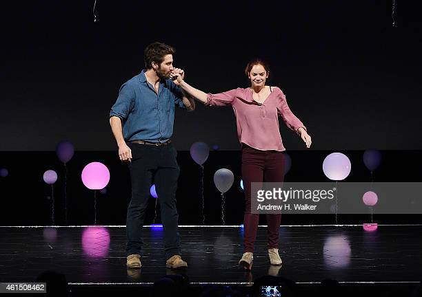 Actors Jake Gyllenhaal and Ruth Wilson attend Constellations Broadway opening night curtain call at Samuel J Friedman Theatre on January 13 2015 in...