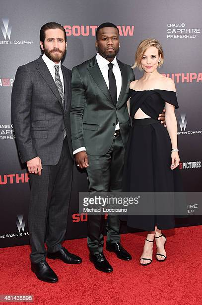 Actors Jake Gyllenhaal Curtis '50 Cent' Jackson and Rachel McAdams attend the New York premiere of 'Southpaw' for THE WRAP at AMC Loews Lincoln...