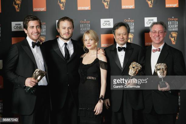 Actors Jake Gyllenhaal Heath Ledger Michelle Williams Director Ang Lee and James Schamus pose backstage at The Orange British Academy Film Awards at...