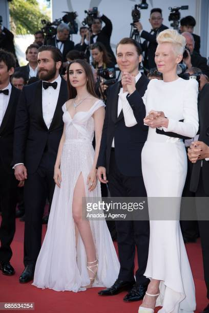 Actors Jake Gyllenhaal Lily Collins Paul Dano and Tilda Swinton attend the 'Okja' screening during the 70th annual Cannes Film Festival at Palais des...