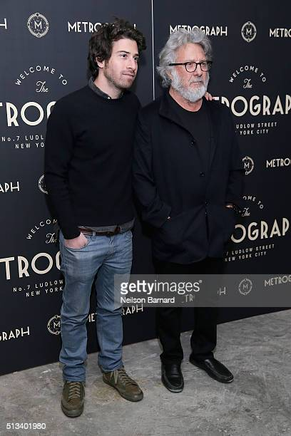 Actors Jake Hoffman and Dustin Hoffman attend the Metrograph opening night at Metrograph on March 2 2016 in New York City