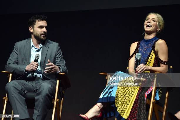 Actors Jake Johnson and Annabelle Wallis speak onstage at CinemaCon 2017 Universal Pictures Invites You to a Special Presentation Featuring Footage...