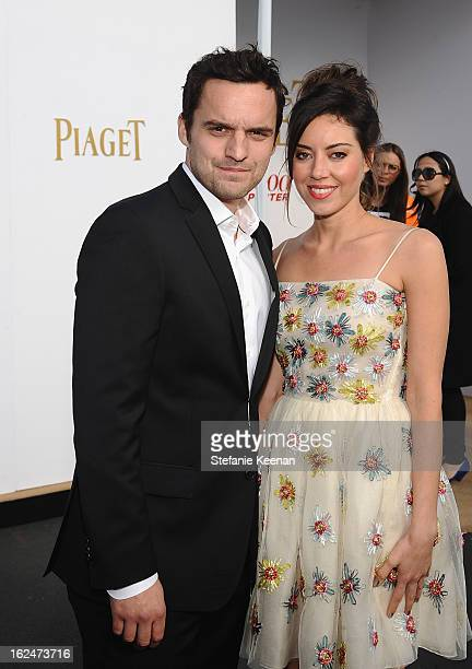Actors Jake Johnson and Aubrey Plaza pose in the Piaget Lounge during The 2013 Film Independent Spirit Awards on February 23 2013 in Santa Monica...