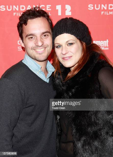 Actors Jake Johnson and Jenica Bergere attend the Safety Not Guaranteed premiere during the 2012 Sundance Film Festival held at Prospector Square...