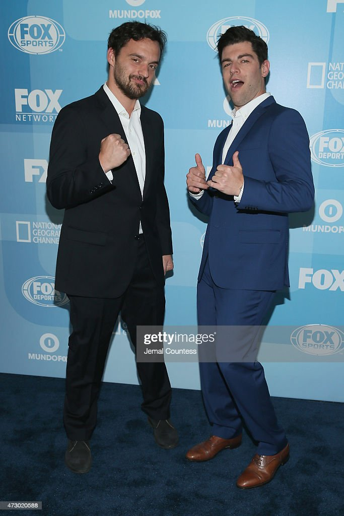 Actors Jake Johnson and Max Greenfield attend the 2015 FOX programming presentation at Wollman Rink in Central Park on May 11, 2015 in New York City.