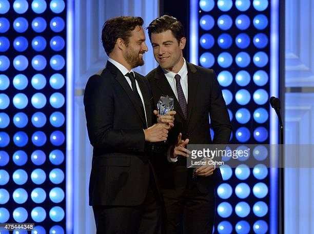Actors Jake Johnson and Max Greenfield speak onstage at the 5th Annual Critics' Choice Television Awards at The Beverly Hilton Hotel on May 31 2015...