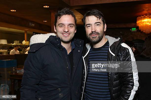 Actors Jake Johnson and Ron Livingston attend ChefDance HuffPost Live Media Lounge on January 26 2015 in Park City Utah