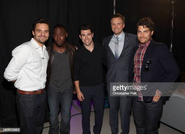 Actors Jake Johnson, Lamorne Morris, Max Greenfield, Joel McHale and Adam Pally attend the 2012 Do Something Awards at Barker Hangar on August 19,...