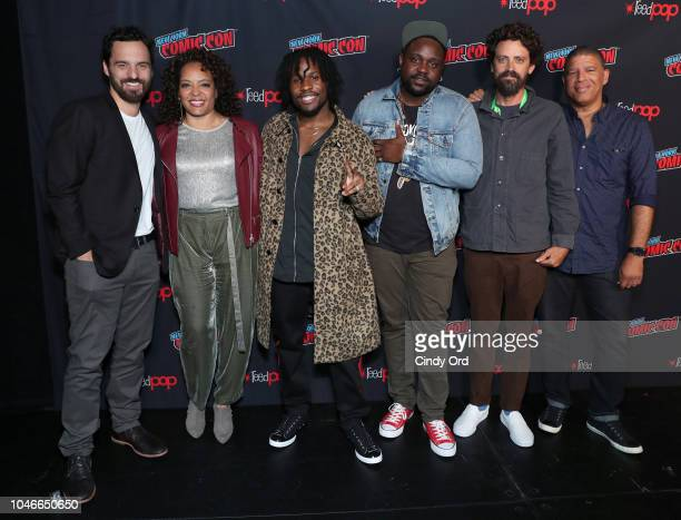 Actors Jake Johnson Luna Lauren Velez Shameik Moore and Brian Tyree Henry and Directors Bob Persichetti and Peter Ramsey attend Columbia Pictures and...