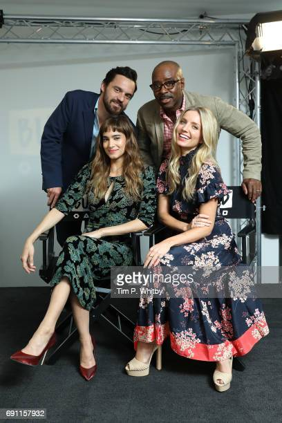 Actors Jake Johnson Sofia Boutella Annabelle Wallis and Courtney B Vance pose for a photo after speaking about 'The Mummy' at the Build LDN event at...