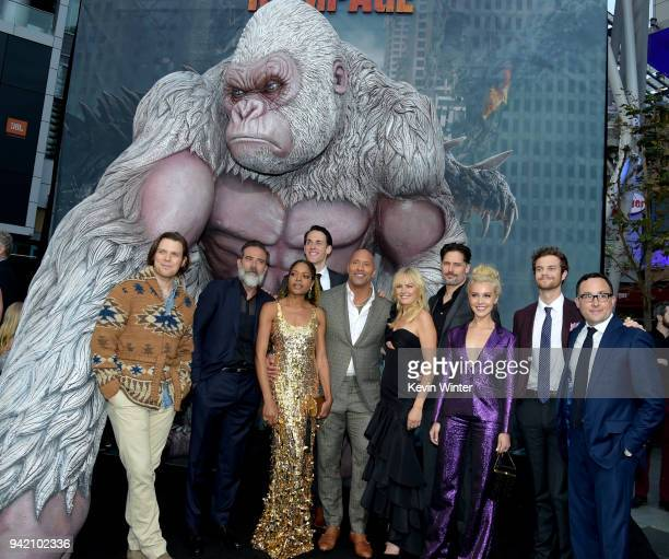 Actors Jake Lacy, Jeffrey Dean Morgan, Naomie Harris, Jason Liles, Dwayne Johnson, Malin Akerman, Joe Manganiello, Breanne Hill, Jack Quaid and PJ...