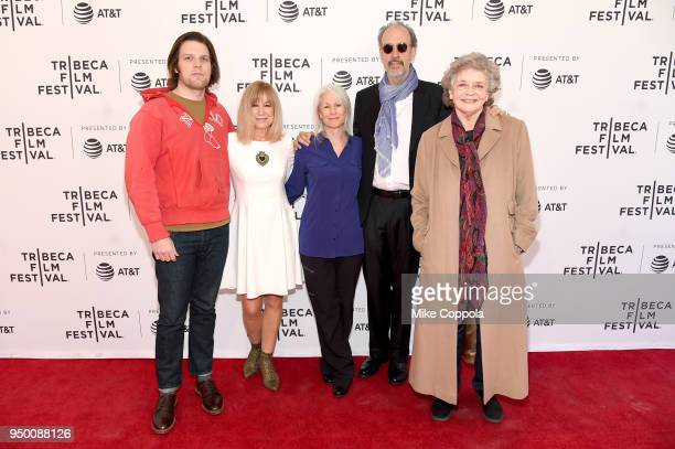 Actors Jake Lacy Mary Kay Place Glynnis O'Connor director Kent Jones and actress Joyce Van Patten attend a screening of 'Diane' during the 2018...
