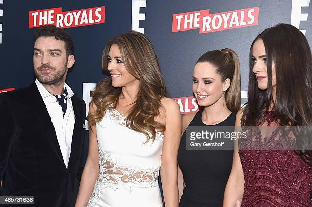 Actors Jake Maskall Elizabeth Hurley Merritt Patterson and Alexandra Park attend The Royals New York Series Premiere at The Standard Highline on...