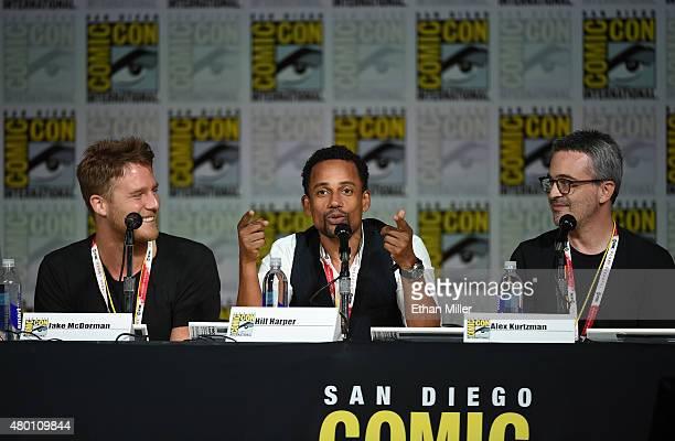 Actors Jake McDorman and Hill Harper and executive producer Alex Kurtzman attend CBS TV Studios' panel for Limitless during ComicCon International...