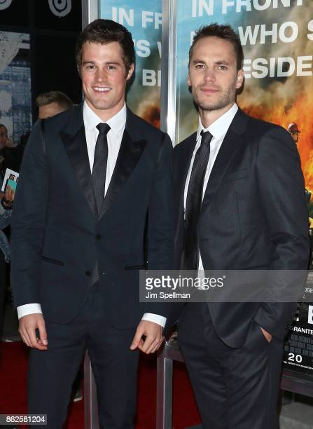 Actors Jake Picking and Taylor Kitsch attend the 'Only The Brave' New York screening at iPic Theater on October 17 2017 in New York City
