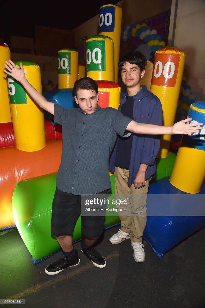 Actors Jake Ryan and Daniel Zolghadri attend the after party for a screening of A24's 'Eigth Grade' at Le Conte Middle School on July 11, 2018 in Los Angeles, California.