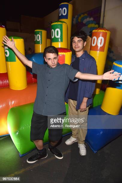 Actors Jake Ryan and Daniel Zolghadri attend the after party for a screening of A24's 'Eigth Grade' at Le Conte Middle School on July 11 2018 in Los...