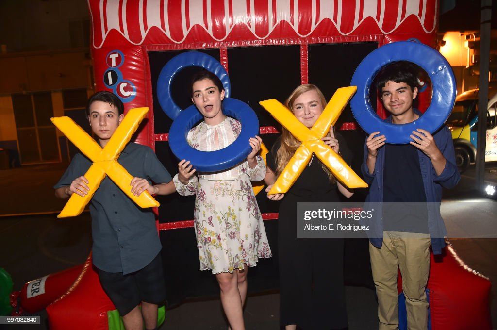 Actors Jake Ryan, Emily Robinson, Elsie Fisher, Daniel Zolghadri attend the after party for a screening of A24's 'Eigth Grade' at Le Conte Middle School on July 11, 2018 in Los Angeles, California.