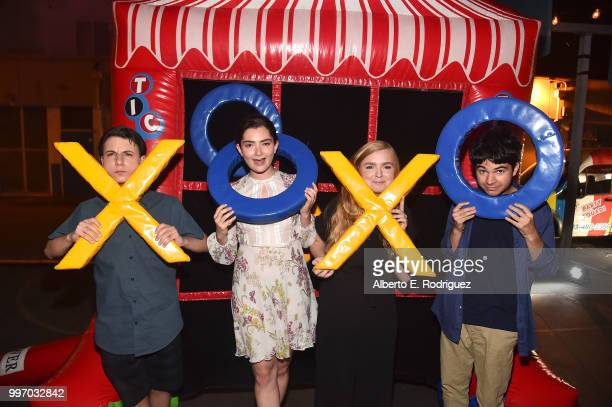 Actors Jake Ryan Emily Robinson Elsie Fisher Daniel Zolghadri attend the after party for a screening of A24's 'Eigth Grade' at Le Conte Middle School...