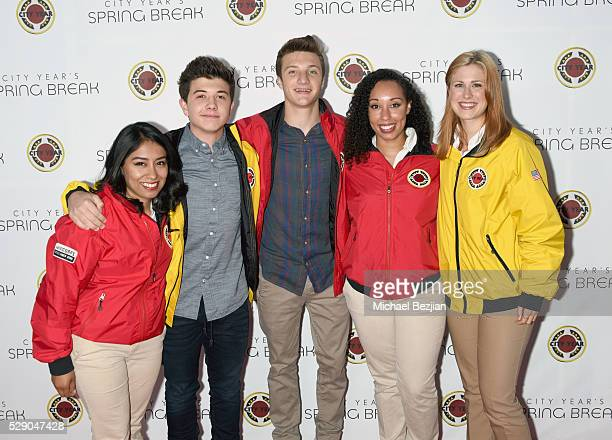 Actors Jake Short and Bradley Steven Perry with City Year AmeriCorps members attend City Year Los Angeles Spring Break Event at Sony Studios on May 7...