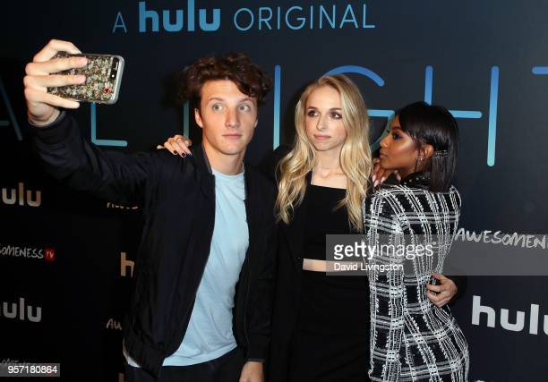 Actors Jake Short Jenn McAllister and Tetona Jackson attend the premiere of AwesomenessTV's new show All Night at Awesomeness HQ on May 10 2018 in...