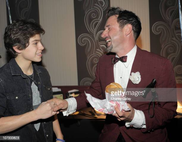 Actors Jake T Austin and David Arquette attend Onitsuka Tiger presents Jake T Austin's birthday party at Arquette And Beachers Madhouse held at The...