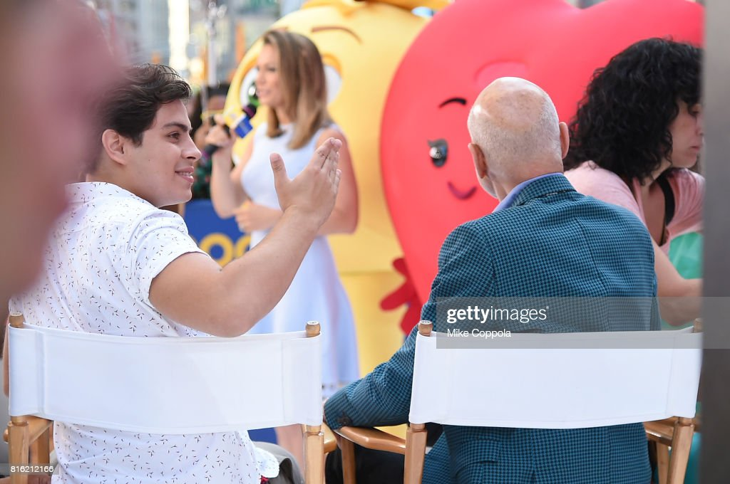 Actors Jake T. Austin (L) and Patrick Stewart of The Emoji Movie Celebrates World Emoji Day On Good Morning America on July 17, 2017 in New York City.
